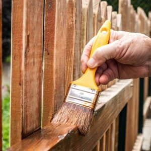Stain wood fence (Photo by Zbynek Pospisil / iStock via Getty Images)