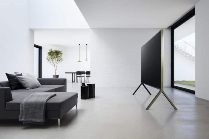 """Lifestyle shot of a Sony 100"""" ZD9 4K Ultra HD TV with High Dynamic Range (HDR)."""