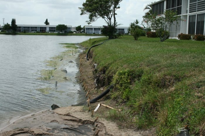 An eroded lakeshore.