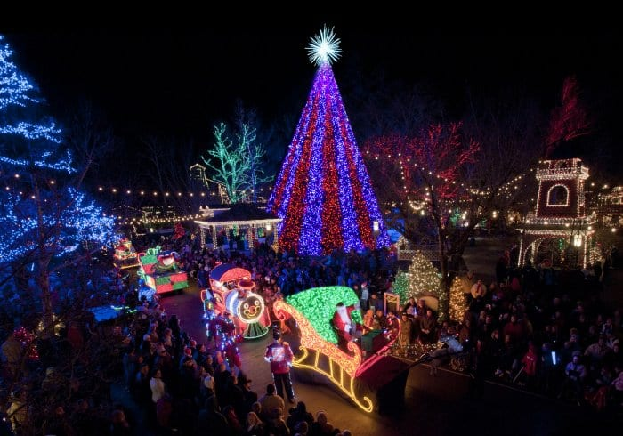 Silver Dollar City in Branson, Missouri features a five-story Christmas tree with musically synced lights. (Photo courtesy of Branson Convention and Visitors Bureau)