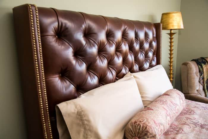 upholstered headboard in bedroom