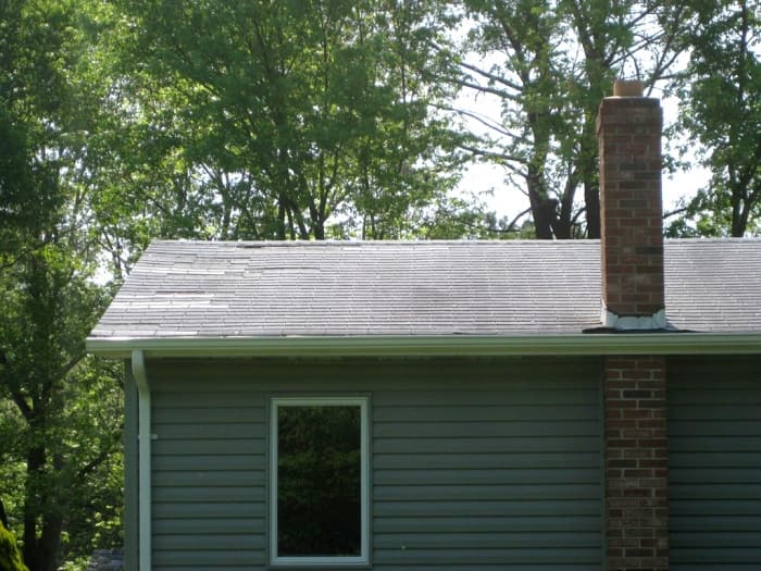 missing asphalt shingles on roof