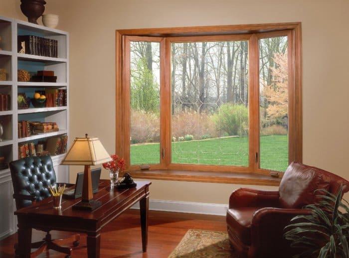 Bay window in brown office