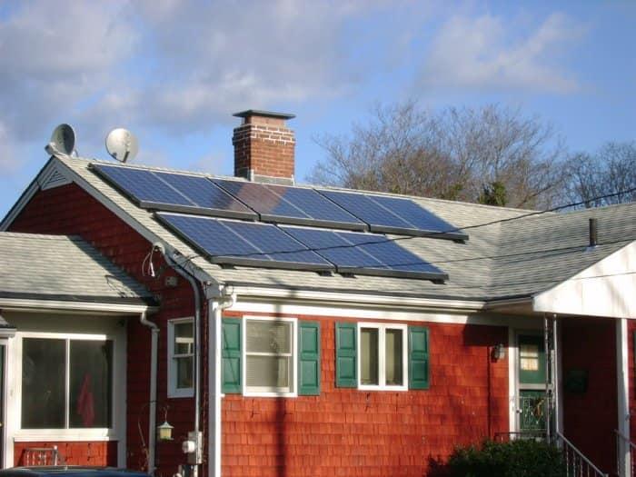 Solar panels on the roof of a home near Boston, Massachusetts