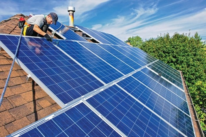 solar panels installed on roof