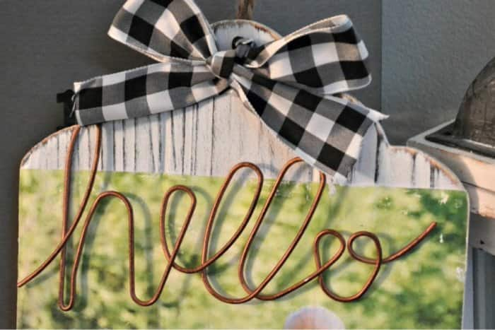 """Wood photo transfer with gingham ribbon and metal """"hello"""""""