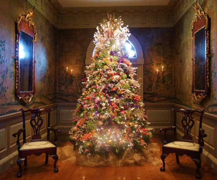 A Christmas tree made of dried flowers at Yuletide at Winterthur in Wilmington, Delaware.  (Photo by Shawn Jones)