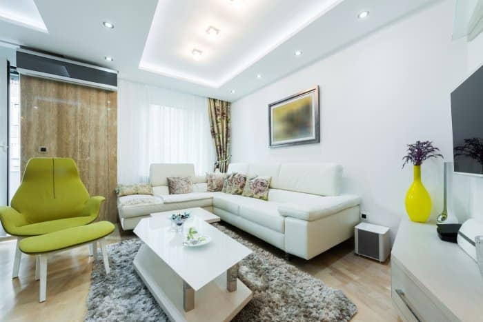 living room with ambient lighting