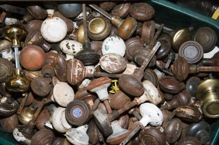 recycled doorknobs from home deconstruction