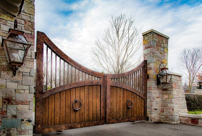 Iron and wood gate by Ryan Feeney of Indy Art Forge