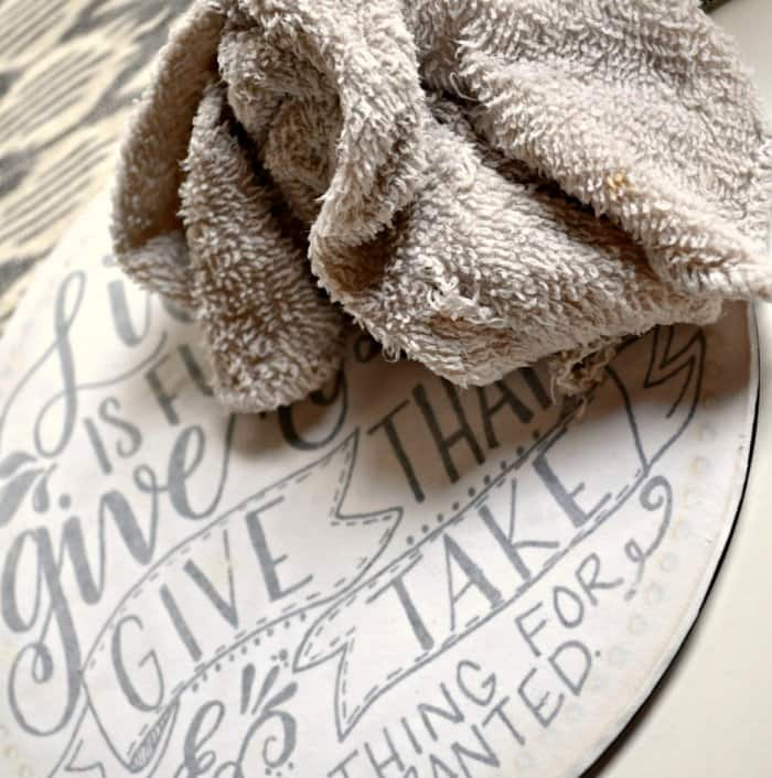 A wet washcloth will remove the paper and leave the design. (Photo by Abbey DeHart/The Cards We Drew)