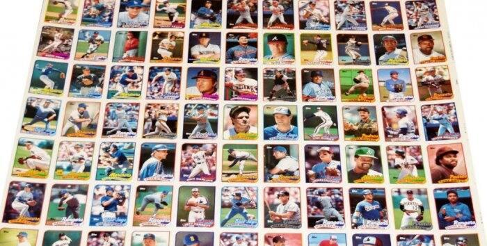 Baseball card uncut sheet