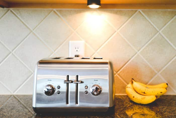 Kitchen task lighting with a toaster and bananas