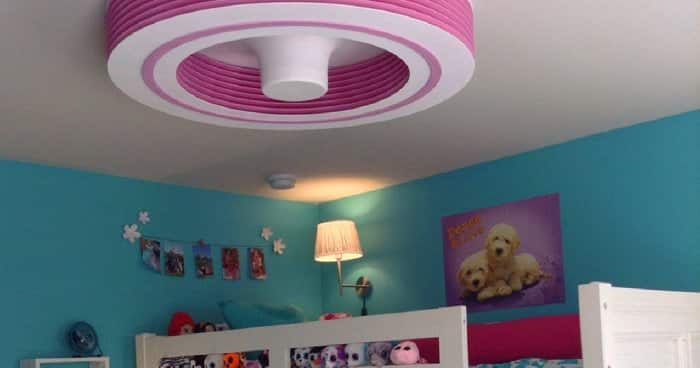 Pink Exhale bladeless ceiling fan