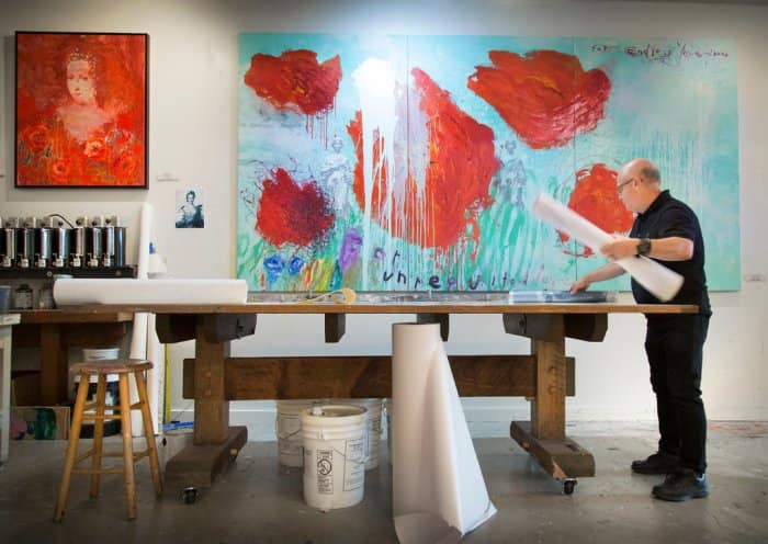 Waltern Knabe studio with large art on the wall