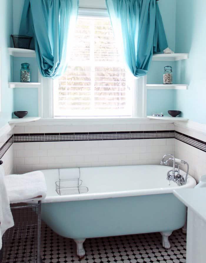 corner shelves over clawfoot bathtub