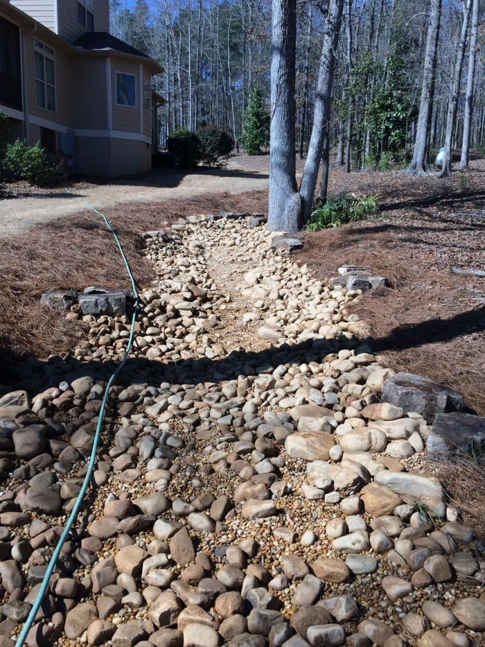 dry creek bed used for yard drainage