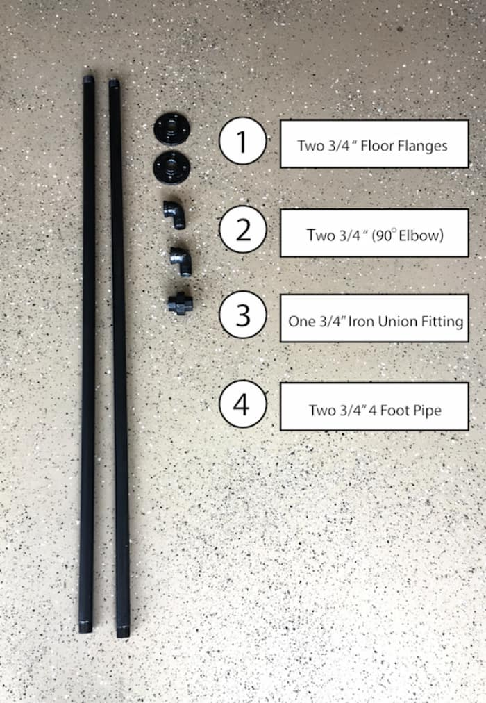 materials needed for DIY industrial pipe curtain rod