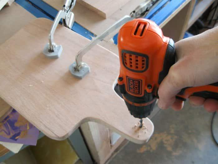 drilling hole in DIY cutting board