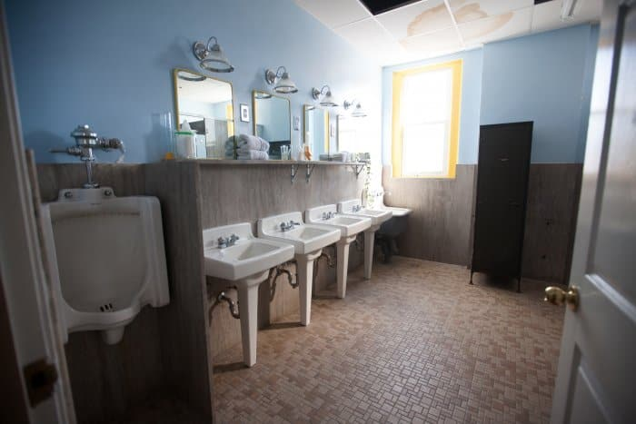 communal bathroom in converted firehouse
