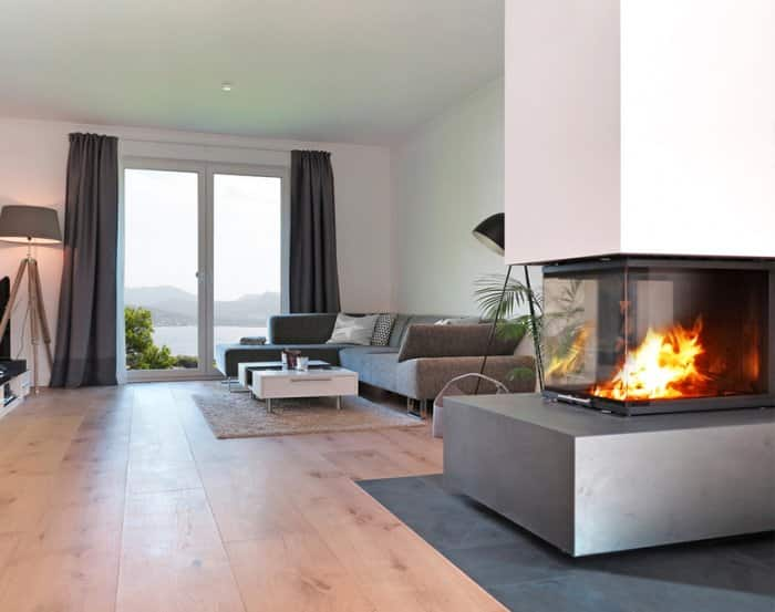 modern fireplace with clean lines on side of living room
