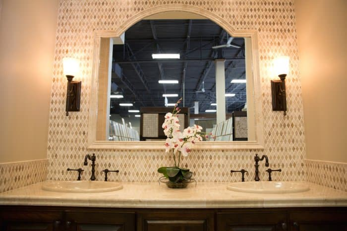 bathroom vanity with flowers