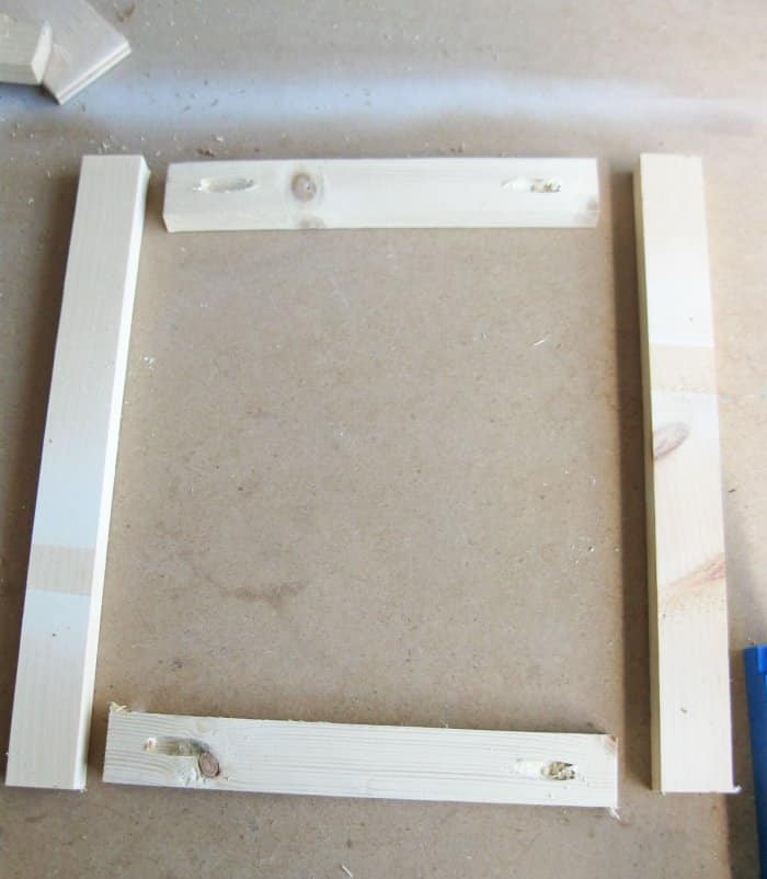 DIY frame pieces drilled