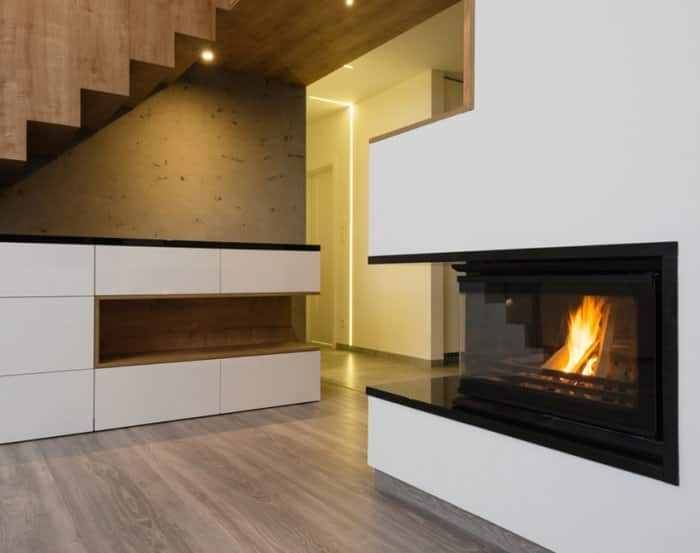 Modern cut-out style fireplace with clean lines