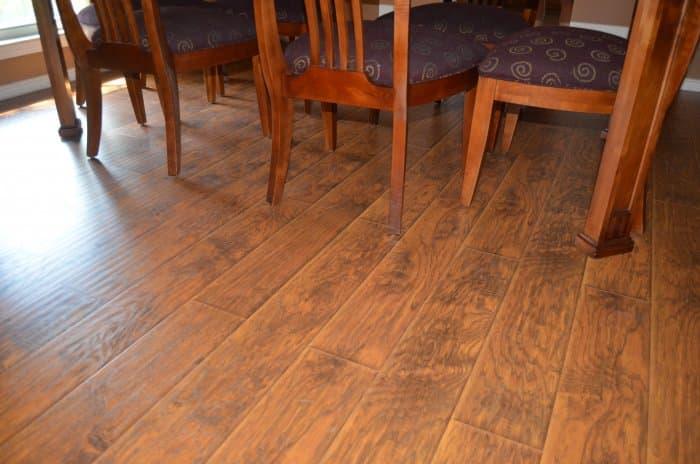 dining set on dark laminate flooring