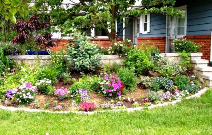 flower bed in a yard