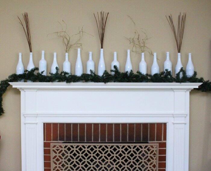 winter mantel decorations