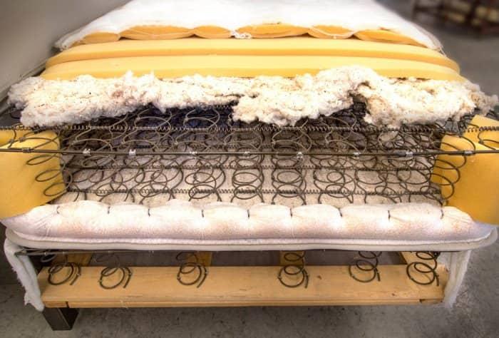 The inside of a mattress