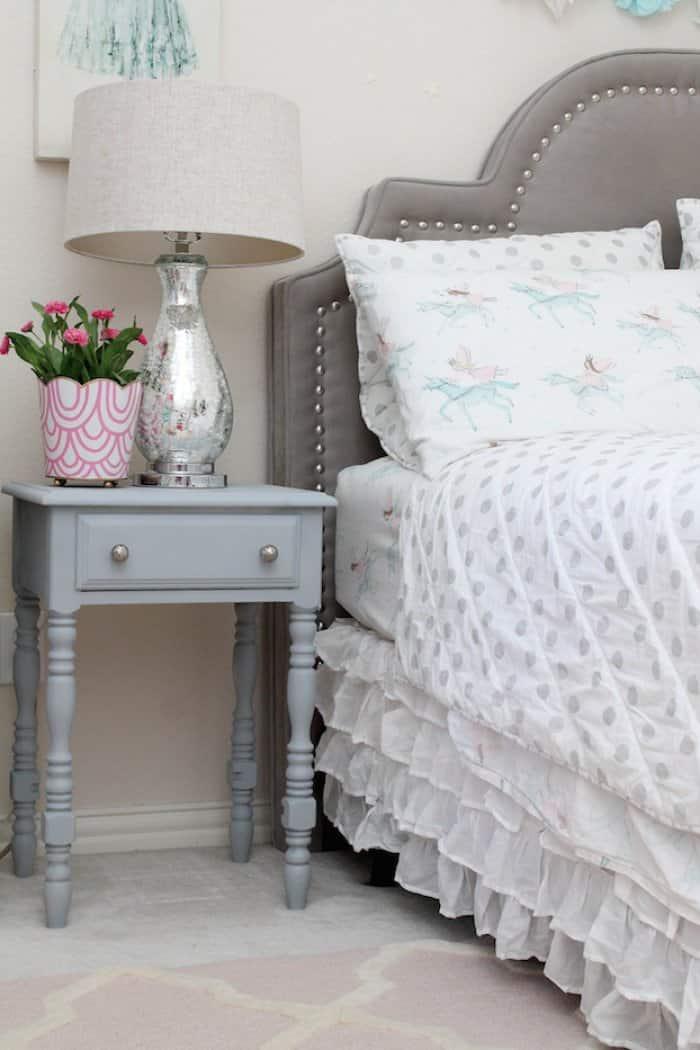 painted nightstand in bedroom