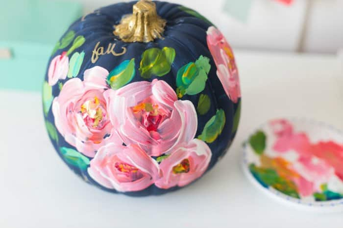 Some paint and your favorite designs or patterns will create a beautiful, bright pumpkin you can use anywhere. (Photo courtesy of Craftberry Bush)