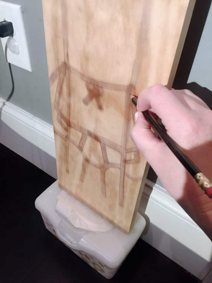 design projected onto pine board