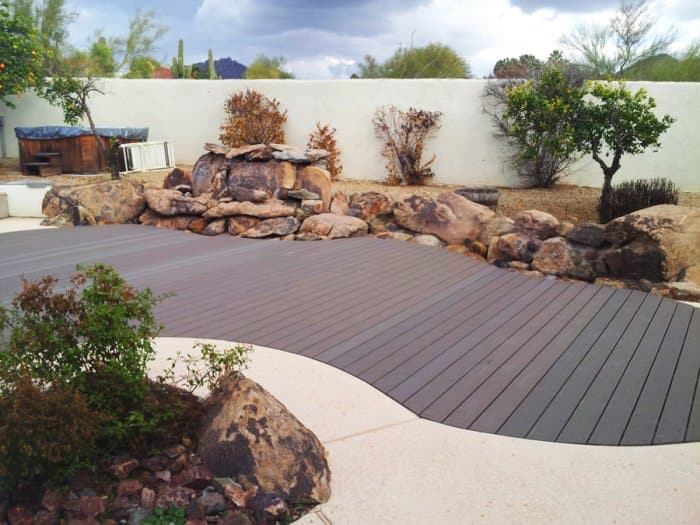 Pool covered with composite decking material
