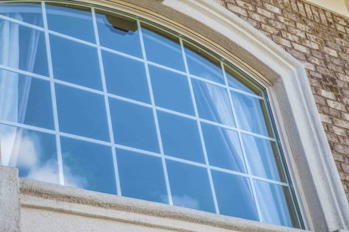 exterior shot of arched window