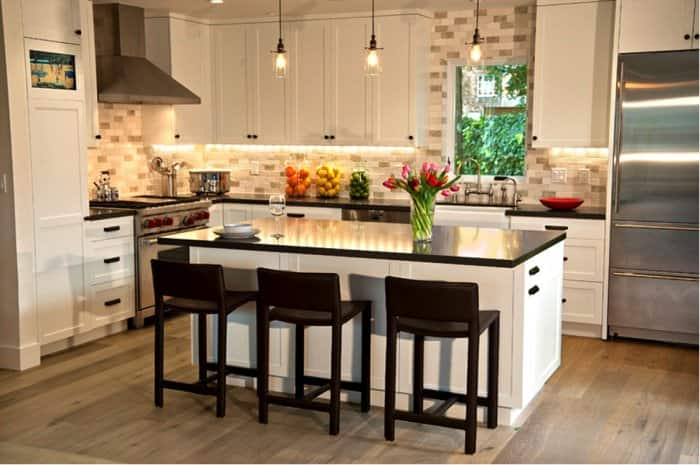 modern kitchen with colorful decor