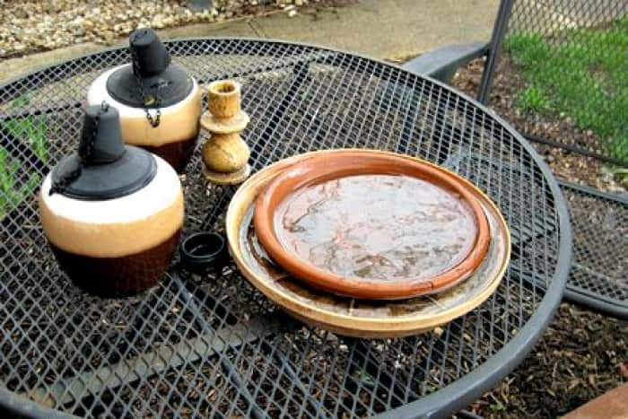 bowl of water on patio table