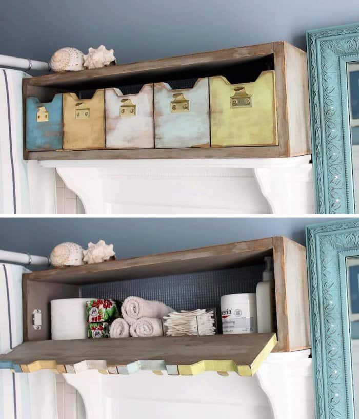 DIY storage cubby in bathroom