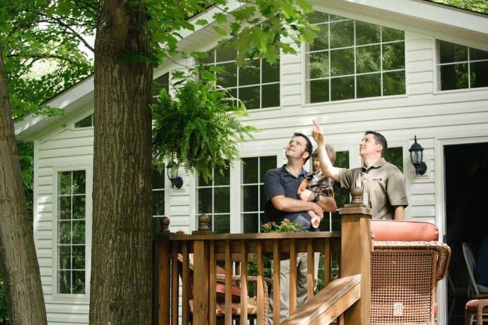 arborist inspecting tree with family