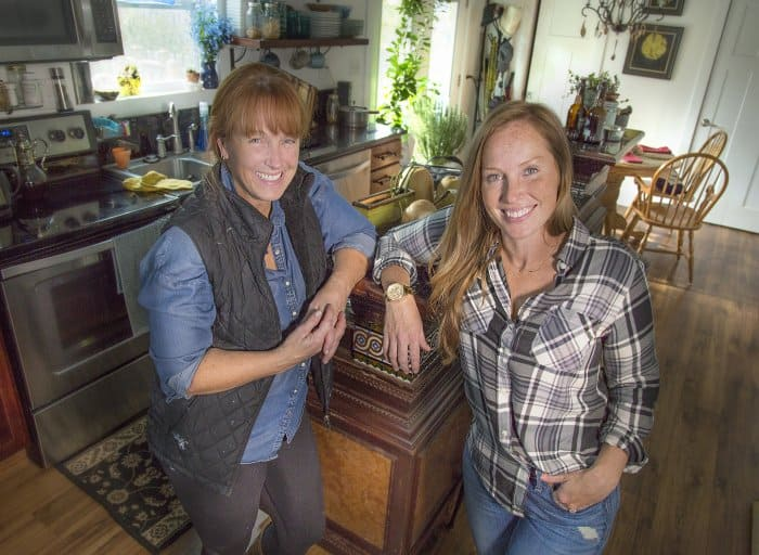 Busting myths on home improvement: Karen Laine and Mina Starsiak Hawk, (mother and daughter) own Two Chicks and a Hammer rehab business, featured on HGTV. (Photo by Frank Espich)