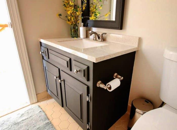 painted bathroom vanity with updated knobs