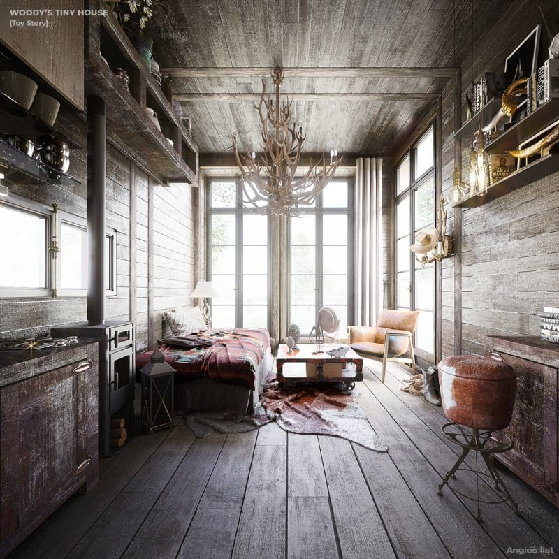 Woody's tiny house interior