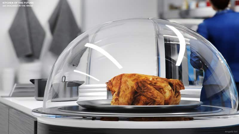 the kitchen of the future - chicken cooking under glass dome
