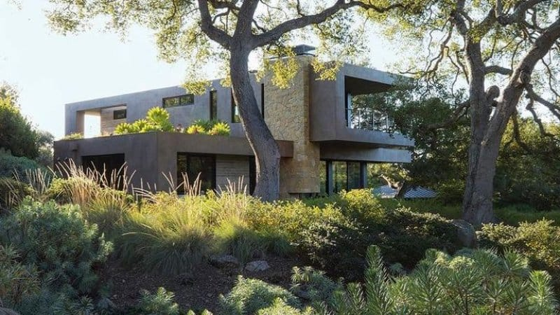 Exterior of modern home surrounded by high landscaping