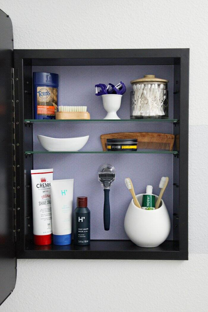 Adjustable shelves make the medicine cabinet perfect for bathroom items of various sizes. (Photo courtesy of Jennifer Jones/iHeart Organizing)