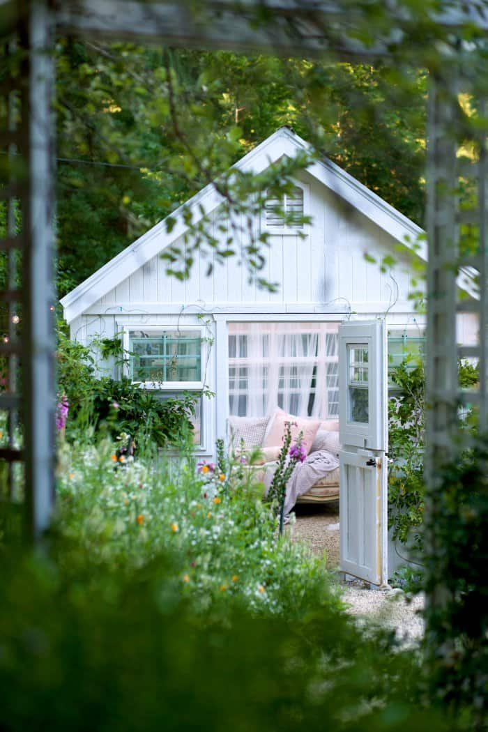 Completed she-shed. (Photo courtesy of Courtney Allison/The French Country Cottage)