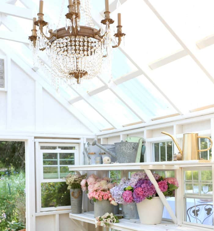 A chandelier is a unique, elegant touch to the she-shed. (Photo courtesy of Courtney Allison/The French Country Cottage)