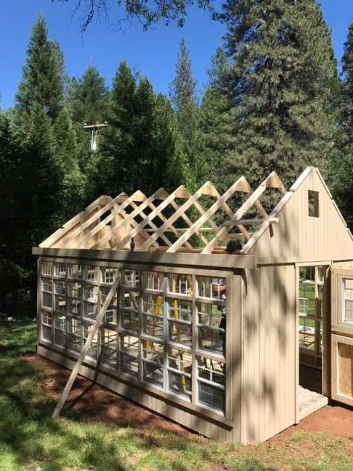 Get friends to add the roofing panels. (Photo courtesy of Courtney Allison/The French Country Cottage)